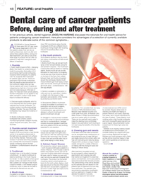 Dental care for cancer patients, before, during and after treatment