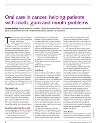 Oral care in cancer: helping patients with tooth, gum and mouth problems