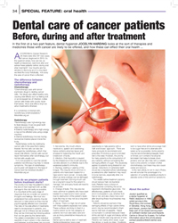 Dental care of cancer patients – Before, during and after treatment