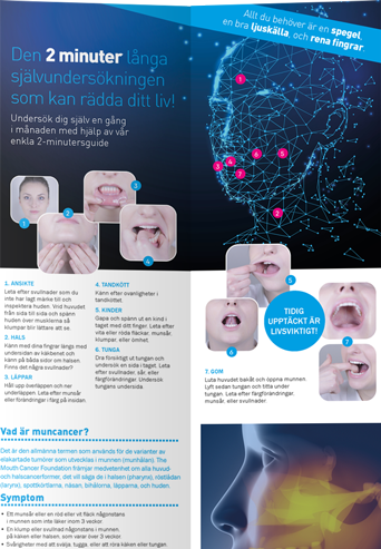 Mouth Cancer Foundation Information 8 Page Leaflet - Swedish
