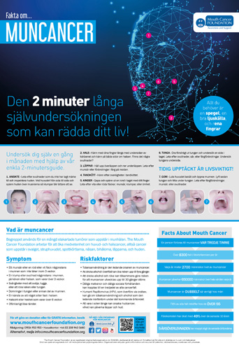 Mouth Cancer Facts Poster 2 Minute Check -  Swedish
