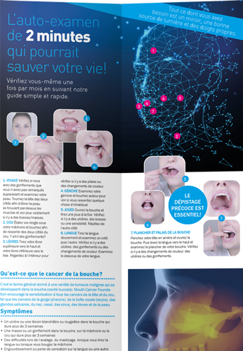 Mouth Cancer Foundation Information 8 Page Leaflet - French