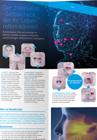 Mouth Cancer Foundation Information 8 Page Leaflet - German